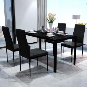 Set mobilier de bucatarie, cinci piese, negru - V242986V