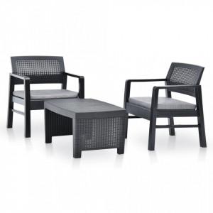 Set mobilier de gradina, 3 piese, antracit, plastic - V48824V