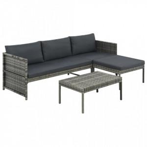 Set mobilier de gradina cu perne, 3 piese, gri, poliratan - V44480V