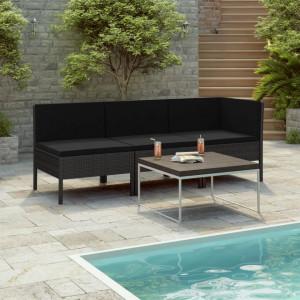 Set mobilier de gradina cu perne, 3 piese, negru, poliratan - V310203V