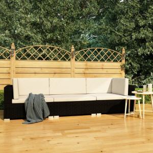 Set mobilier de gradina cu perne, 3 piese, negru, poliratan - V47264V
