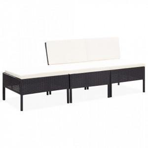 Set mobilier de gradina cu perne, 3 piese, negru, poliratan - V48956V