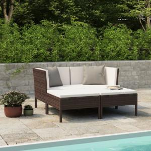 Set mobilier de gradina cu perne, 4 piese, maro, poliratan - V3056965V