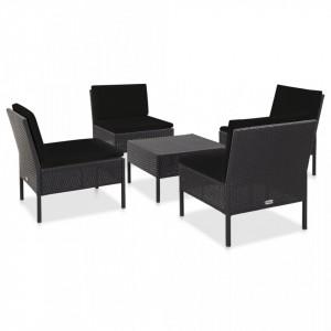 Set mobilier de gradina cu perne, 5 piese, negru, poliratan - V48945V