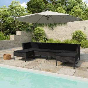 Set mobilier de gradina cu perne, 6 piese, negru, poliratan - V3056963V