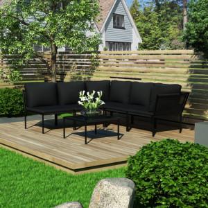 Set mobilier de gradina cu perne, 6 piese, negru, PVC - V48591V
