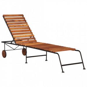 Sezlong cu picioare din otel, lemn masiv de acacia - V44394V