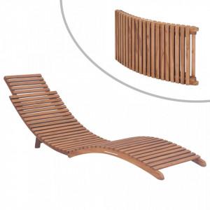 Sezlong de plaja pliabil, lemn masiv de tec - V44666V