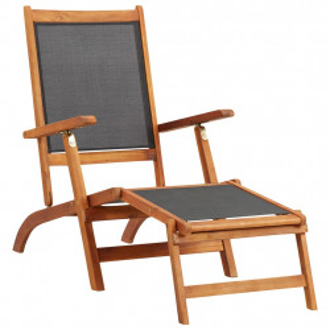 Sezlong, lemn masiv de acacia si textilena - V45958V