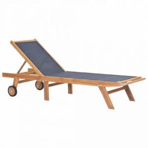 Sezlong pliabil cu roti, lemn masiv de tec si textilena - V44668V
