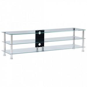 Stativ TV, transparent, 150x40x40 cm, sticla securizata - V280093V