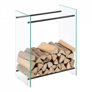 Suport lemne foc Oshawa Glas, 60x80x35cm, otel/sticla securizata, transparent/negru - P71901954