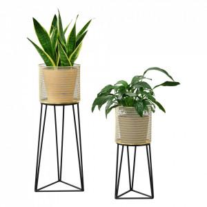 Suport plante 2 bucati ABMM-2151, metal, negru/auriu, masuri diferite - P72332337