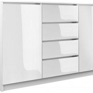 TECOA135 - Comoda 140 x 40 x 97 cm, Alb-Lucios