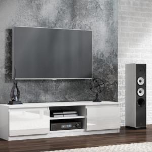 TECTV4 - Comoda TV 140 cm, living - Alb lucios, Negru lucios