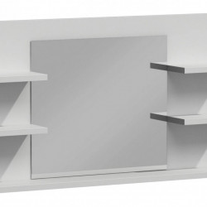 TEOB1 - Oglinda 80 cm, cu 5 rafturi pentru baie - Alb Mat si Alb lucios