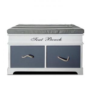 Bancă cu pernă, 2 sertare, alb/gri, SEAT BENCH 2 NEW