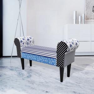Banca patchwork rustica albastru & alb - V240881V