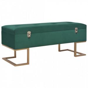 Bancheta cu un compartiment de depozitare verde 105 cm catifea - V247570V