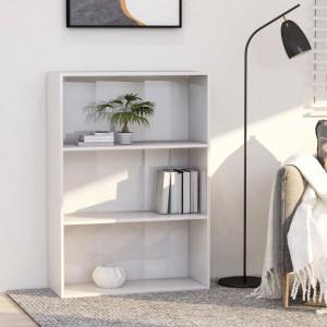 Biblioteca cu 3 rafturi, alb extralucios, 80 x 30 x 114 cm, PAL - V801014V