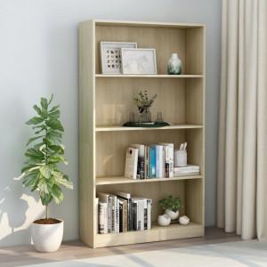 Biblioteca cu 4 rafturi, stejar Sonoma, 80 x 24 x 142 cm, PAL - V800912V