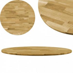 Blat de masa, lemn masiv de stejar, rotund, 23 mm, 700 mm - V245984V