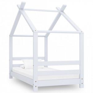 Cadru pat de copii, alb, 70 x 140 cm, lemn masiv de pin - V289610V