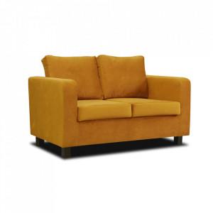 Canapea complet tapiţată, ţesătură muştar, LUANA