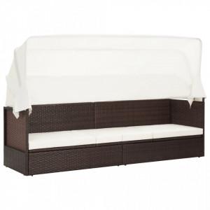 Canapea de gradina cu copertina, maro, poliratan - V49394V