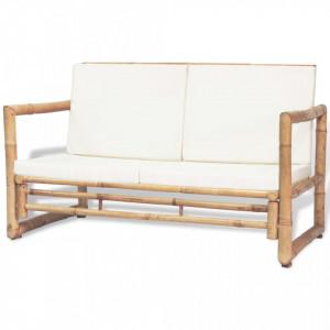Canapea gradina 2 locuri cu perne, bambus - V43157V
