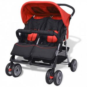 Carucior dublu pentru copii, rosu si negru, otel - V10108V