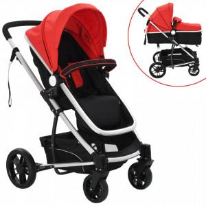 Carucior/landou pentru copii 2-in-1, rosu si negru, aluminiu - V10105V
