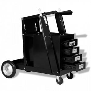 Carucior pentru sudura cu 4 sertare, negru - V142363V