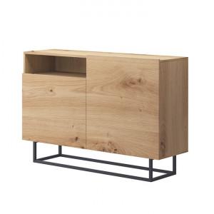 Comodă, stejar artisan/negru, SPRING EK120
