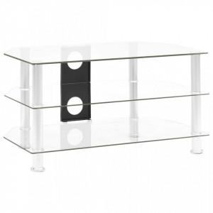 Comoda TV, transparent, 75 x 40 x 40 cm, sticla securizata - V249538V