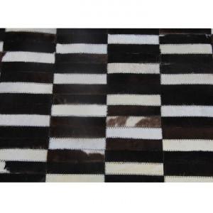 Covor de lux din piele, maro/negru/alb, patchwork, 141x200, PIELE DE VITĂ TYP 6