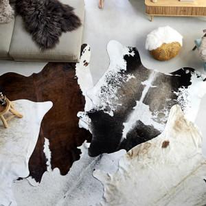 Covor din piele de vita, negru si alb, 150x170 cm - V284343V