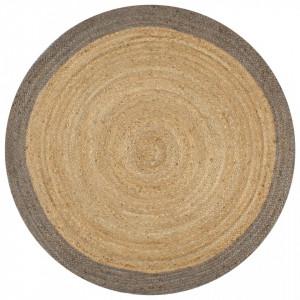 Covor manual cu margine gri, 150 cm, iuta - V133676V