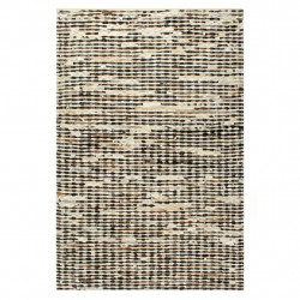 Covor, piele cu par natural, mozaic negru/alb, 80 x 150 cm - V134404V