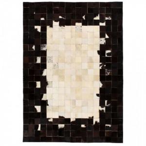 Covor piele naturala, mozaic, 160x230 cm Patrate Negru/alb - V132624V