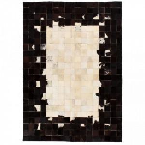 Covor piele naturala, mozaic, 80x150 cm Patrate Negru/alb - V132622V