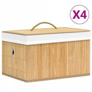 Cutii de depozitare, 4 buc., bambus - V320765V