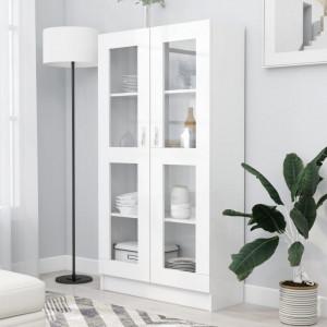 Dulap cu vitrina, alb, 82,5 x 30,5 x 150 cm, PAL - V802759V
