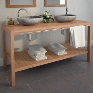 Dulap de chiuveta baie, lemn masiv de tec, 132 x 45 x 75 cm - V246493V