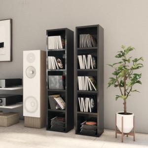 Dulapuri CD-uri 2 buc. negru extralucios 21 x 16 x 93,5 cm PAL - V802703V