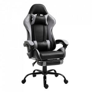Fotoliu birou/gaming cu suport pentru picioare, negru/gri, TARUN