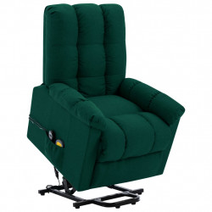Fotoliu de masaj cu ridicare verticala, verde inchis, textil - V321396V