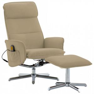 Fotoliu masaj rabatabil cu taburet cappuccino piele ecologica - V289849V