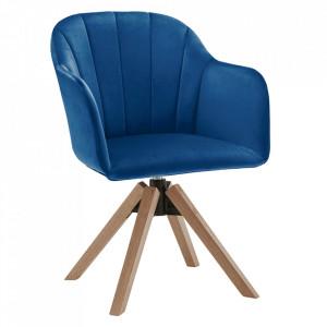 Fotoliu rotativ, textil Velvet, albastru inchis/fag, DALIO