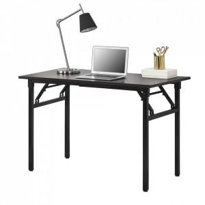 Masa cu picioare pliabile AATF-7701, 120 x 60 x 75-76,4 cm, PAL melaminat/metal sinterizat, maro inchis/negru, inaltime reglabila - P57591462